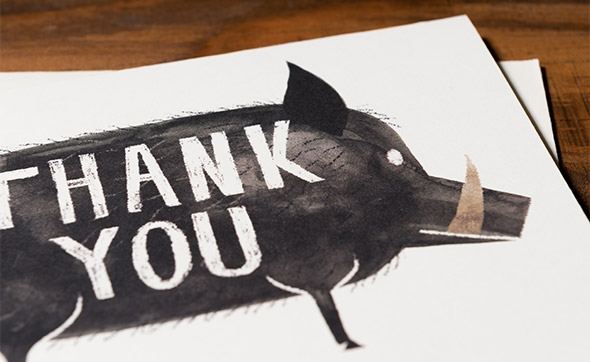 boar thank you card by Chris Sasaki for Red Cap Cards