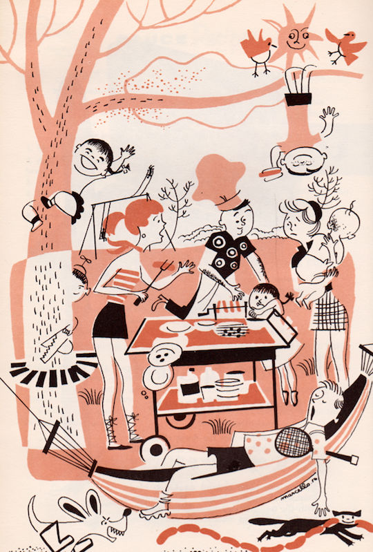 Vintage illustration outdoor barbecue collage on Red Cap Cards!