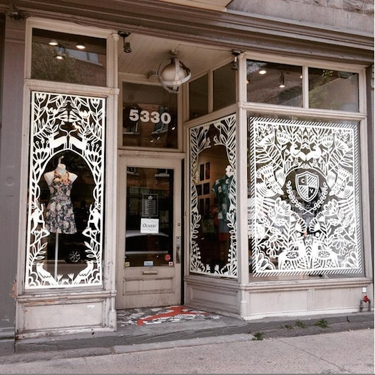 Jumbo Paper Cut window display by Yelena Bryksenkova for Citizen Vintage