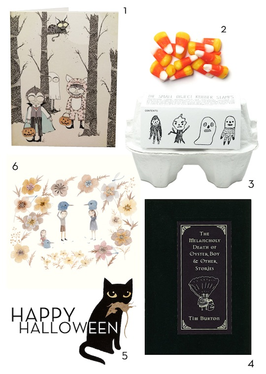 A Halloween collage by Red Cap Cards, with work by Julianna Swaney, The Small Object, Carrie Gifford, Tim Burton and Jean François Martin