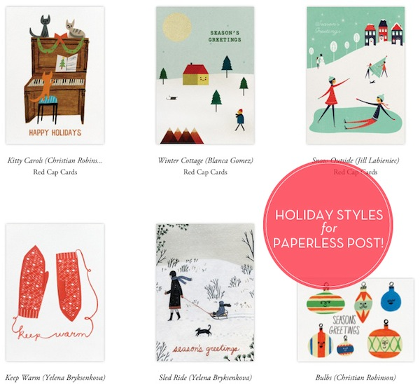Paperless Post holiday designs by Red Cap Cards