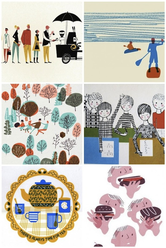 illustrations from Red Cap Cards' Pinterest