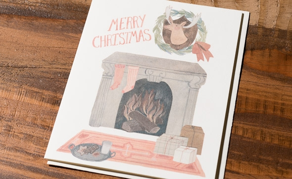 Life in Christmas Fireplace by Kelsey Garrity-Riley for @redcapcards