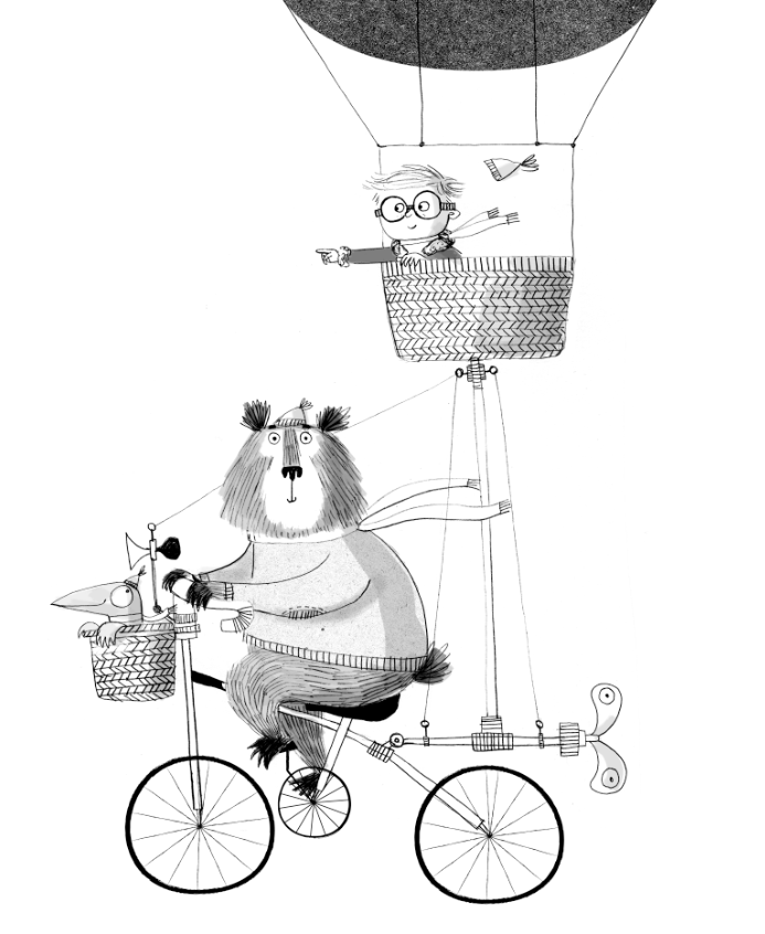 kate hindley illustration with bear and boy in hot air balloon