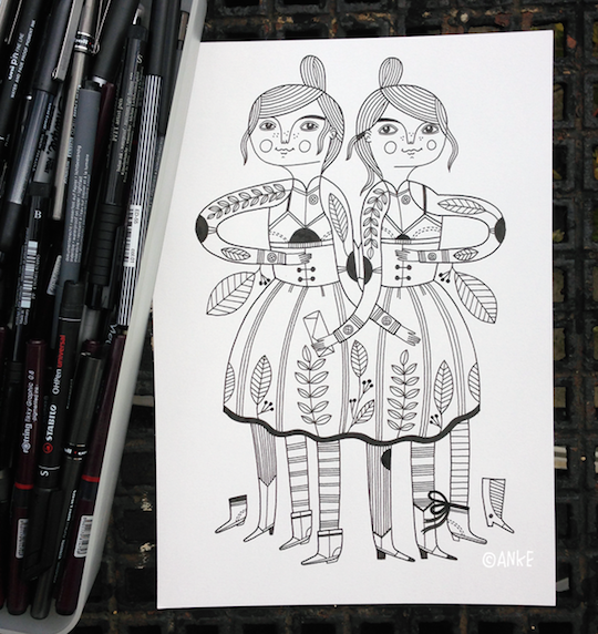 Red Cap Cards artist, Anke Weckmann drawing for Inktober