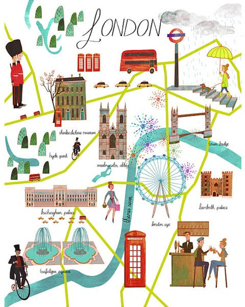 London Map illustrated by Josie Portillo