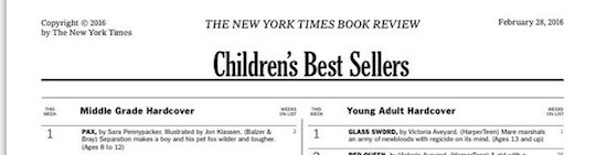 Pax is number on on the New York Times Best seller list