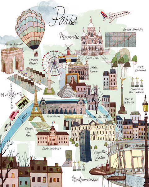 Paris Map illustrated by Josie Portillo