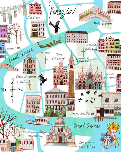 Venice Map illustrated by Josie Portillo